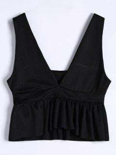 Plunging Neck Ruffle Hem Tank Top - Black M