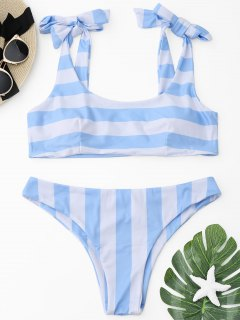 Self-tied Striped Bikini Set - Blue And White S