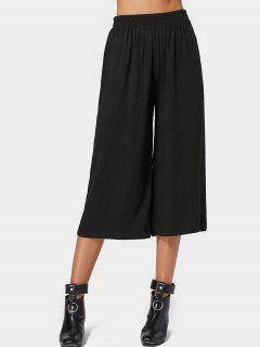 Capri High Waisted Belted Wide Leg Pants - Black