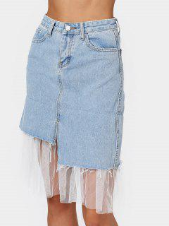 High Waisted Voile Panel Denim Skirt - Denim Blue M