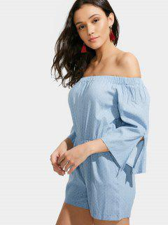 Dotted Off The Shoulder Romper - Blue Xl