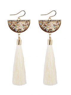 Tassel Pendant Half Round Fish Hook Earrings - White