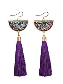 Tassel Pendant Half Round Fish Hook Earrings - Purple