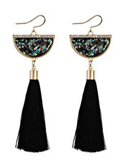 Tassel Pendant Half Round Fish Hook Earrings - Black