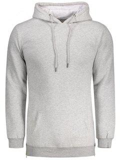 Sides Zipper Hoodie - Light Gray M