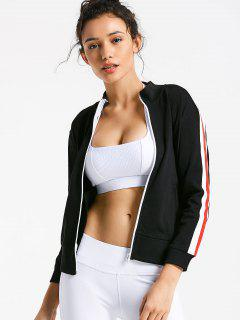 Zip Up Side Striped Sports Jacket - Black M
