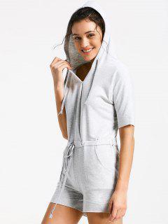 Sports Hooded Romper - Light Gray S