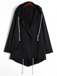 Drawstring Hooded Coat With Pockets - Black Xl