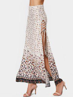 Slit Tiny Floral Lace Up Maxi Skirt - Floral M