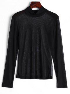 High Neck Sheer Mesh Blouse - Black M