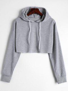 Drop Shoulder Drawstring Crop Hoodie - Gray S