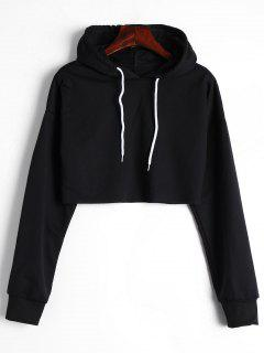 Drop Shoulder Drawstring Crop Hoodie - Black S