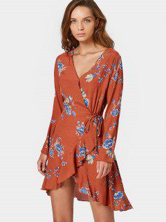 Long Sleeve Wrap Floral Mini Dress - Orangepink L