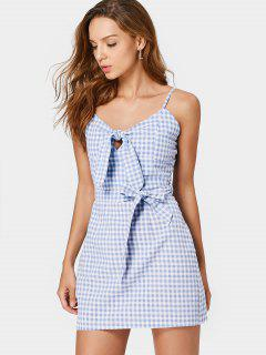 Belted Checked Bow Tied Mini Dress - Checked S