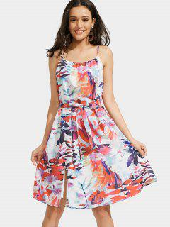 Leaves Print Slit Cami Belted Dress - Multi S