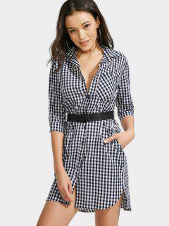 Button Up Checked Belted Dress - Checked M