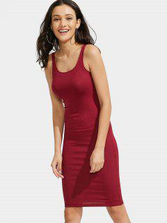 U Neck Ribbed Knitted Dress - Red