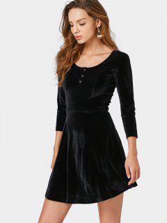 Vestido De Terciopelo Machacado De Medio Botón - Negro M
