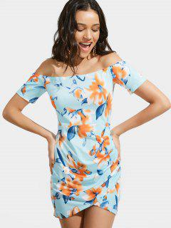 Off The Shoulder Floral Print Ruched Dress - Floral L