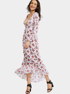 Floral Print Plunging Neck Maxi Dress - Floral M