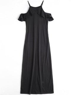 Ruffle Cold Shoulder Cami Maxi Dress - Black L