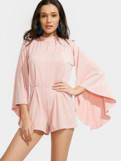 Flare Sleeve Tie Neck Back Slit Romper - Pink Xl