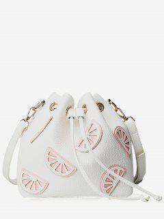 Colour Block Drawstring Bucket Bag - White