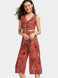 Leaves Print Cut Out Wide Leg Jumpsuit - Red M