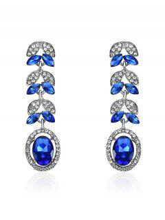 Rhinestone Faux Sapphire Oval Leaf Earrings - Blue