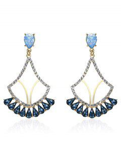 Sparkly Rhinestone Faux Crystal Earrings - Blue
