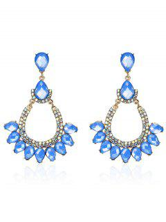 Rhinestone Faux Gem Teardrop Sparkly Earrings - Blue