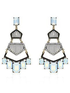 Rhinestone Vintage Geometric Dangle Earrings - Golden
