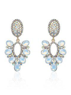Sparkly Rhinestone Faux Gem Oval Earrings - Golden