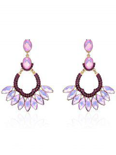 Faux Crystal Oval Drop Earrings - Pink