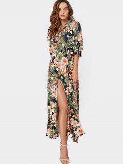 Button Up Slit Tropical Maxi Dress - Floral L