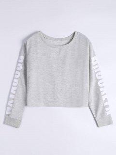 Letter Print Drop Shoulder Sweatshirt - Light Gray M