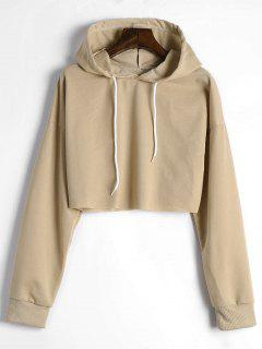Drop Shoulder Drawstring Crop Hoodie - Khaki M