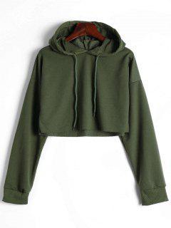 Drop Shoulder Drawstring Crop Hoodie - Army Green L