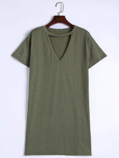 Keyhole Neck Shift Mini Dress - Army Green S