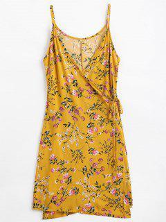 Cami-Wickelkleid Mit Blumendruck - Ingwer-gelb Xl