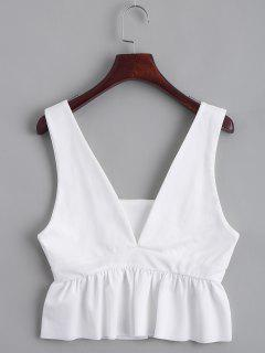 Plunging Neck Ruffle Hem Tank Top - White S