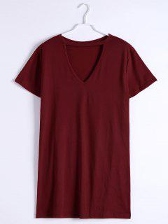 Keyhole Neck Shift Mini Dress - Deep Red S