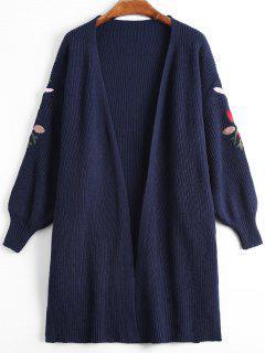 Lantern Sleeve Floral Embroidered Slit Cardigan - Purplish Blue