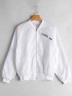 Zip Up Letter Graphic Bomber Jacket - White