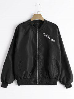 Zip Up Letter Graphic Bomber Jacket - Black