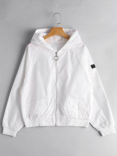 Zip Up Skull Graphic Hooded Jacket - White
