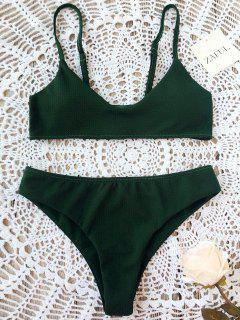 High Cut Bralette Bikini Set - Blackish Green M