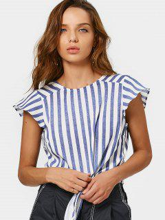 Back V Bow Tied Stripes Top - Stripe L