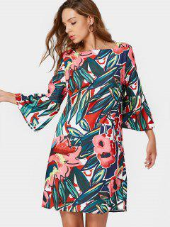 Flare Sleeve Floral Ruffles Shift Dress - Floral L