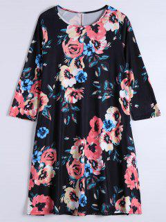 Long Sleeve Flower Shift Dress With Pockets - Black Xl